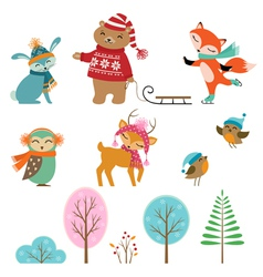 Cute winter animals vector image