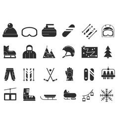 monochrome icon set of winter sport black vector image