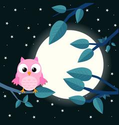 colorful tree with cute owl cartoon bird in moon vector image