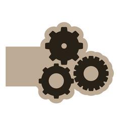 dark contour gears icon vector image