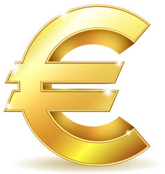 Gold sign euro currency vector image vector image