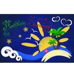 Hi summer sun sea palm trees vector