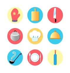 Kitchen utensils and kitchen flat Icons vector image