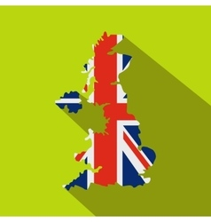 Map of UK of the national flag icon flat style vector image vector image