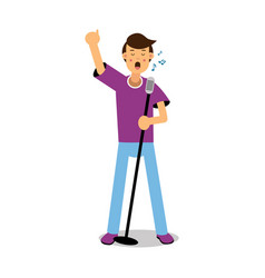 young man singing with microphone cartoon vector image