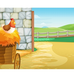 A farm with a hen above the hays vector image vector image