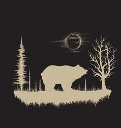 bear in the strange forest vector image