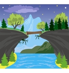 Beauty landscape with lake and mountain background vector image