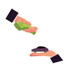 car purchase rental concept two giving hands vector image