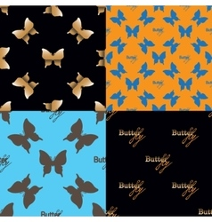 Four seamless pattern with butterflies vector image