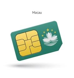 Macau mobile phone sim card with flag vector