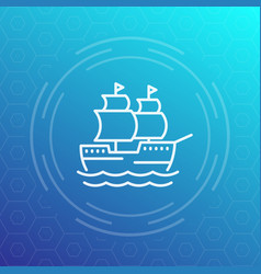 sailing vessel ship line icon vector image