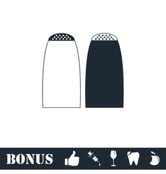 Salt and pepper shakers icon flat vector image