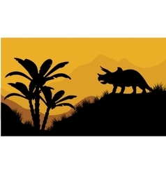 Single triceratops in fields scenery vector image