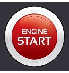 Start engine button Red round sticker vector image