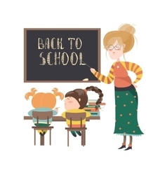 Teacher by blackboard with pupils vector image vector image