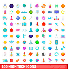 100 high tech icons set cartoon style vector image