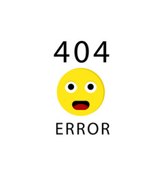 404 connection error with face emoticon or emoji vector image