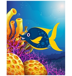 A big smiling fish near the coral reefs vector image