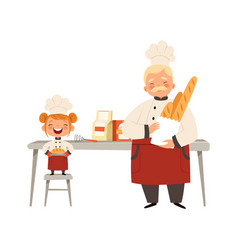 Baking workshop smiling girl and chef in uniform vector