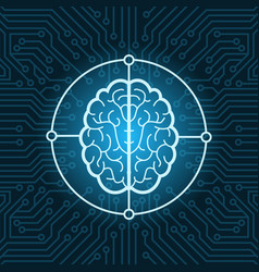 Brain icon over blue circuit chip background vector