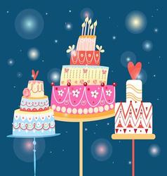 bright graphics holiday cakes on a blue background vector image