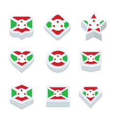 burundi flags icons and button set nine styles vector image