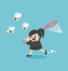 Business woman trying to catch money vector