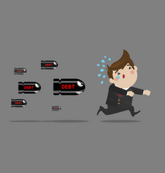 Businessman running away from debt vector