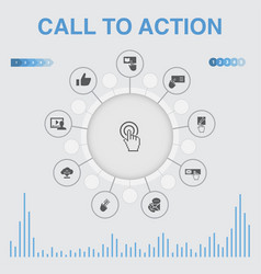 Call to action infographic with icons contains vector