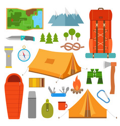 camping icons set hike outdoor elements vector image