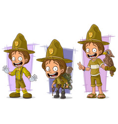 Cartoon boyscout ranger character set vector