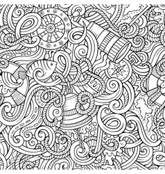 Cartoon hand-drawn nautical doodles seamless vector image