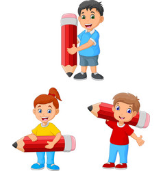 Cartoon happy kids holding big pencils vector