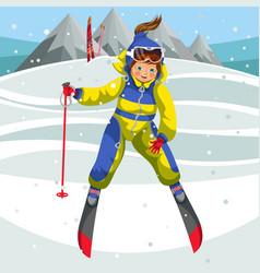 Cartoon happy ski teacher coming off hill vector