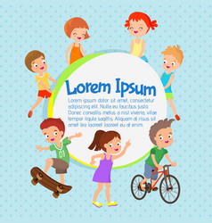 Cartoon kids poster fun children vector