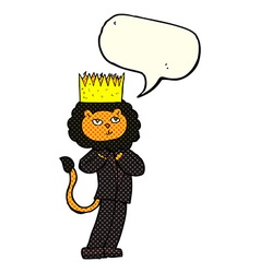 Cartoon king of the beasts with speech bubble vector