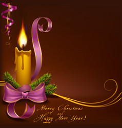 Christmas candle on a brown background horizontal vector image