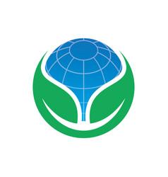 circle leaf globe ecology logo image vector image