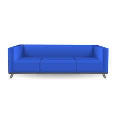 classic modern blue sofa mockup realistic style vector image