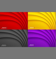 colorful wavy background set business card set vector image