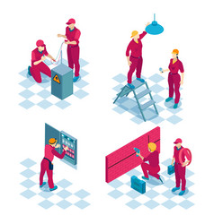 Commercial electricians isometric concept vector