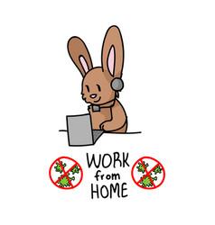 Corona virus kids cartoon work from home cute vector