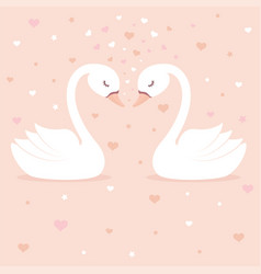 cute swans on pink background vector image