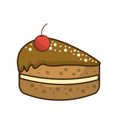 Delicious pastel with cherry to happy birthday vector