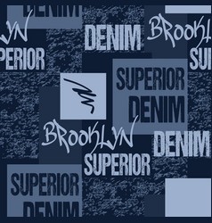 denim typography brooklyn new york artwork vector image