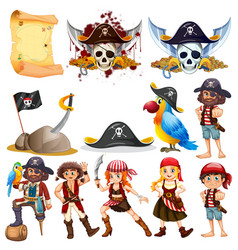 Different pirate characters and pirate symbols vector