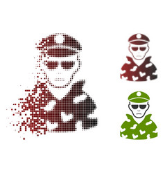 Dissolving pixel halftone soldier icon with face vector