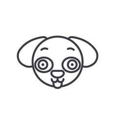 doggy emoji concept line editable concept vector image