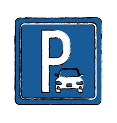 Drawing parking sign road street vehicle vector